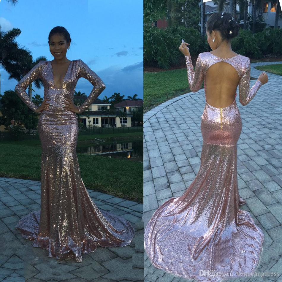 Sexy Deep V Neck Pink Sequined Prom Dresses 2017 Open Back Long ...
