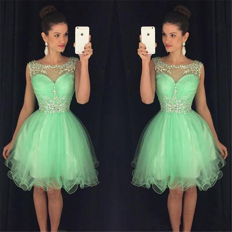 Mint Green Prom Dresses 2017 Short Puffy Sheer Scoop Neck Crystals ...
