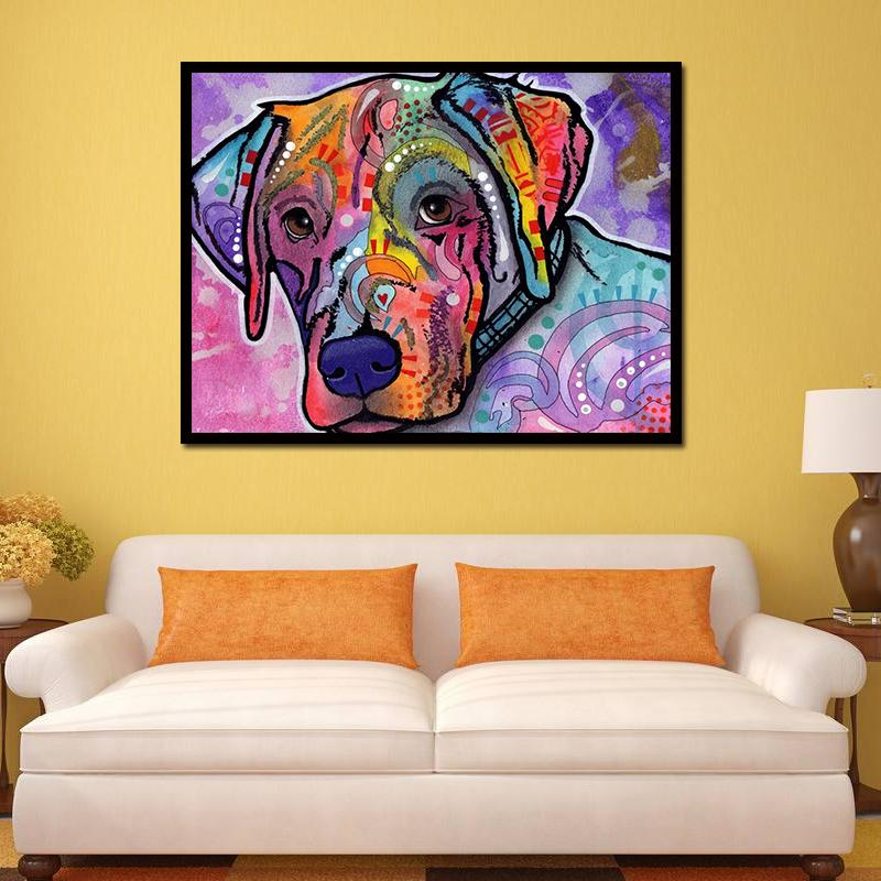 2018 Unframed Modern Abstract Oil Painting Colorful Sad Dog Huge ...
