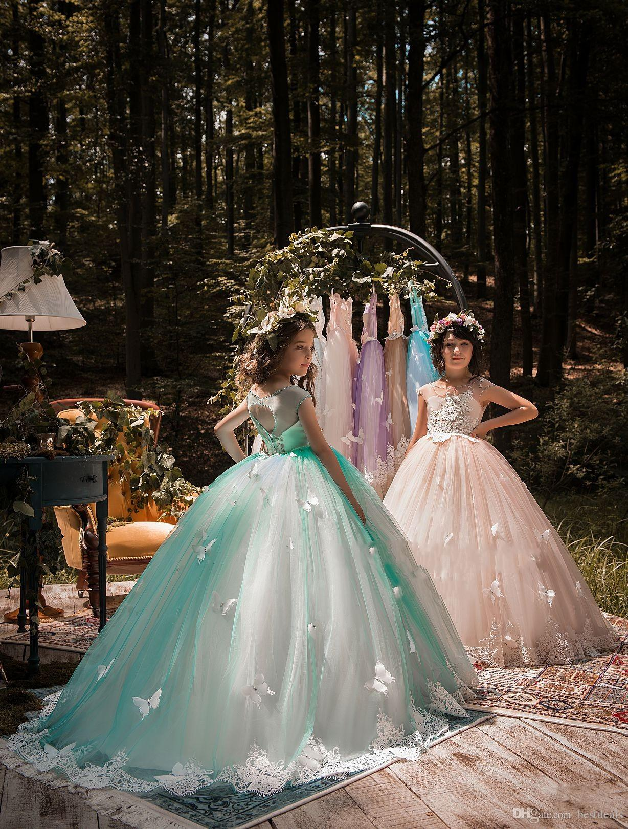 2018 New Design Mint Green Girls Pageant Dresses Ball Gown Lace Appliqued Butterflies Kids Evening Prom Party Gowns