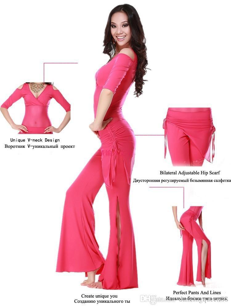 Gran venta !!! 2016 nuevos Haft-sleeved MeshMilk Silk Belly Dance Costumes mujeres para la práctica / Training TopPants con la bufanda de la cadera