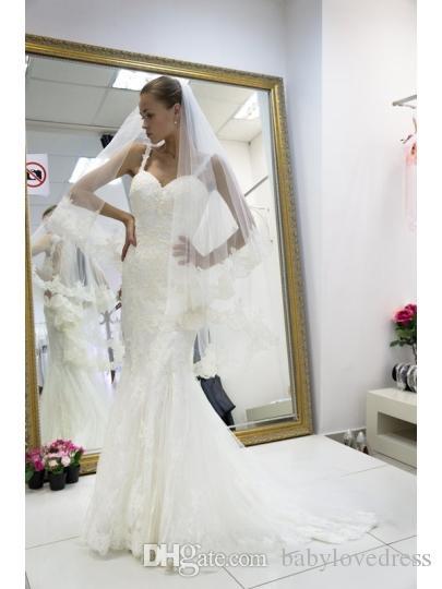 Mermaid Wedding Dresses 2018 Spaghetti Straps Aplique Lace Tulle Wedding Gowns With Beading Backless Vestidos De Novia
