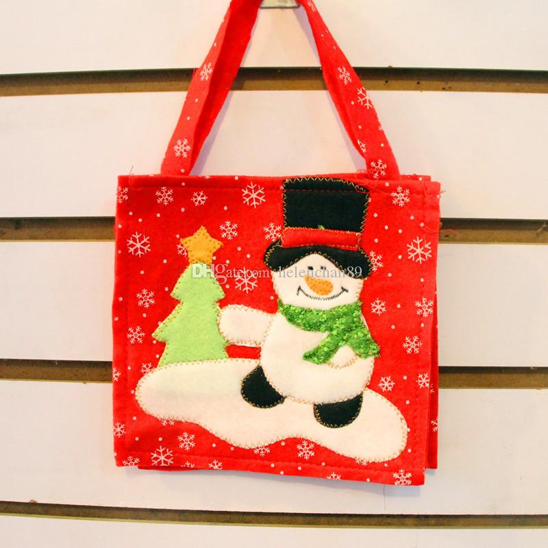 16*16cm Santa Claus Gift Bags Non-woven Christmas Tree Decorations Snowman Candy Bag Random Delivery Drop Shipping