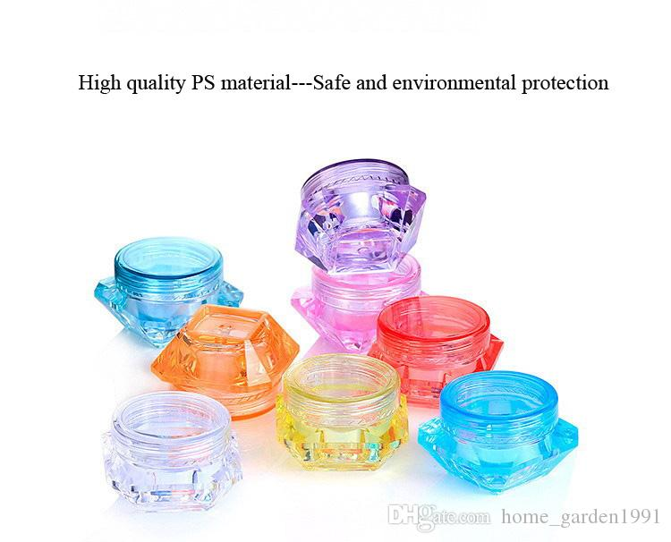 Dhl شحن 3 جرام 5 جرام شفافة مربع صغير زجاجة التجميل جرة فارغة وعاء ظلال الشفاه بلسم الوجه كريم عينة الحاويات 8 ألوان