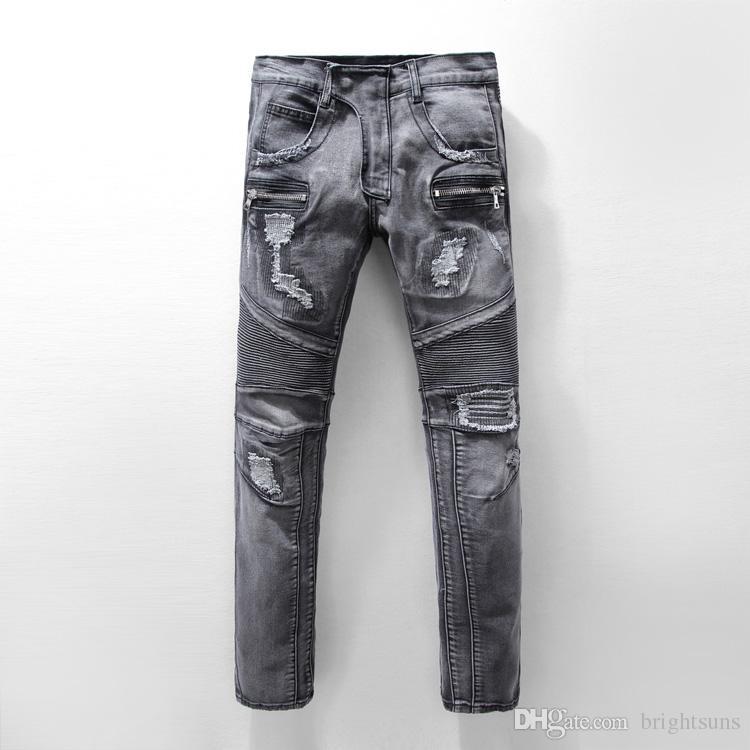 2018 2018 Wholesale Fashion Designer Mens Ripped Biker Jeans Leather Patchwork Slim Fit Blue ...