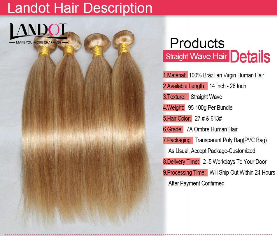 Piano Human Hair Weave Brazilian Malaysian Indian Peruvian Straight Hair Extensions Bundles Mix Color Honey Blond 27/Bleach Blonde 613# Hair