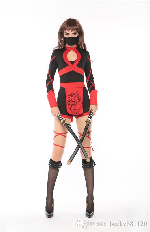 Halloween Japanese Ninja Cosplay Costume Halloween Warrior Dress Ninja cosplay costume Sexy Women Hallowmas Costume Wholesale