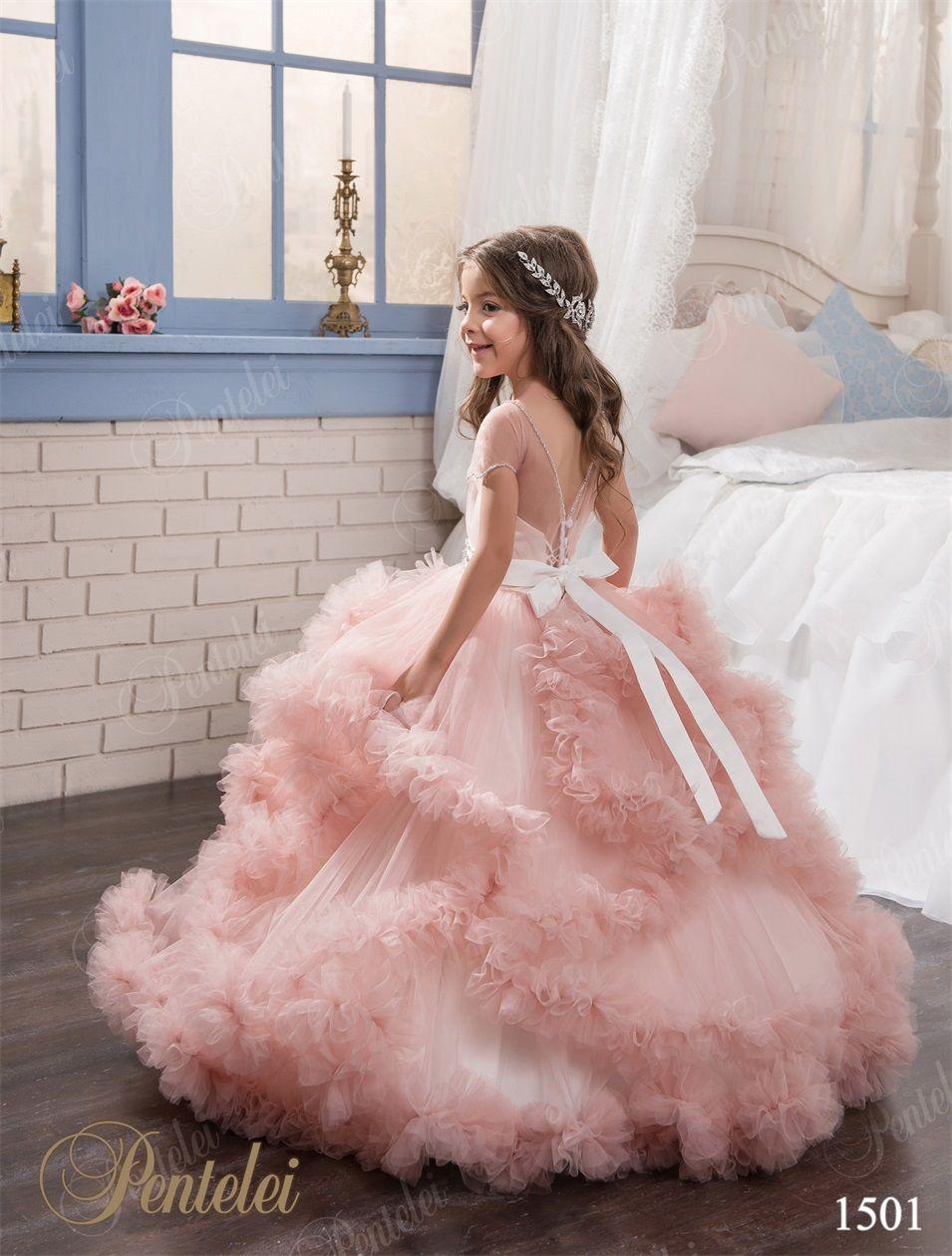 Flying-cloud Flower Girls Dresses 2016 Pentelei Princess Tiered Blush Pink Tulle Tutu Girls Pageant Gowns Floor Length Custom Made