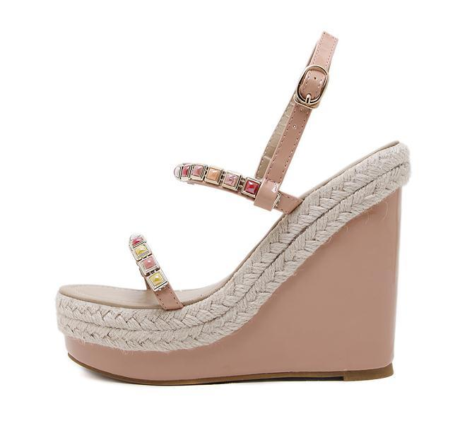 2012 Chic Summer Beige Color Straw Woven Wedge Sandal Platform Heels Pink White Black Beige 2018 Size 34 To 40