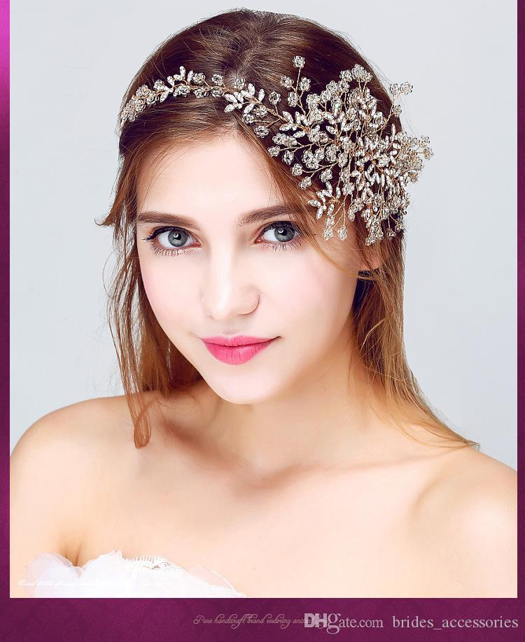 Gold 2016 Hair Accessories Headpiece For Wedding New Arrive Elegant Beading Crystal Headbands Wholesale Sexy Pearl Bridal Jewellery