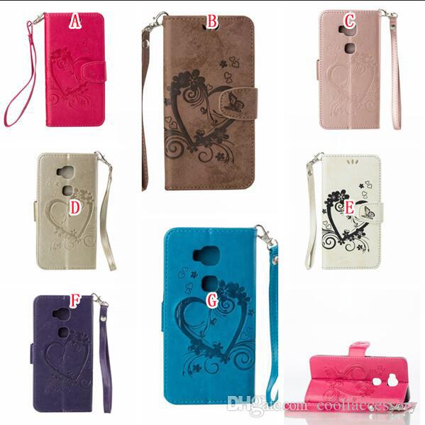For Huawei Y560 Y360 Honor 6 5X Y6 Wallet Flip Leather Pouch Case Love Heart Strap ID Card Photo Stand TPU Flower Skin Cover Cell phone