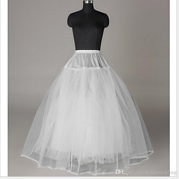 In Stock Ball Gown/A-line Petticoat Tulle Netting Floor-length 3 Tiers Underskirt/Slip/Crinoline For Wedding Dress #BW-Q015