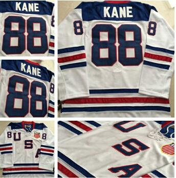 Chicago Blackhawks 2010 Olympic Team USA 88 Patrick Kane Blanco Hockey sobre hielo Jerseys Embroidery Logos Hockey Jersey