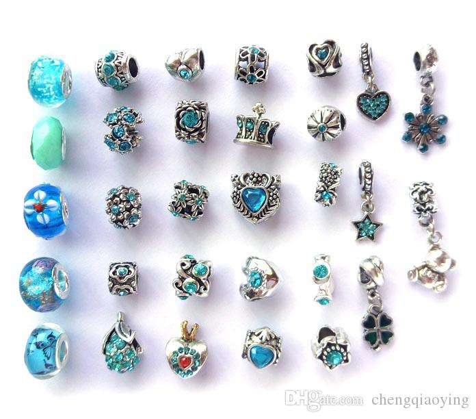 Mix style and color rhinestone antique silver plated big hole alloy beads charms fit European bracelet DIY