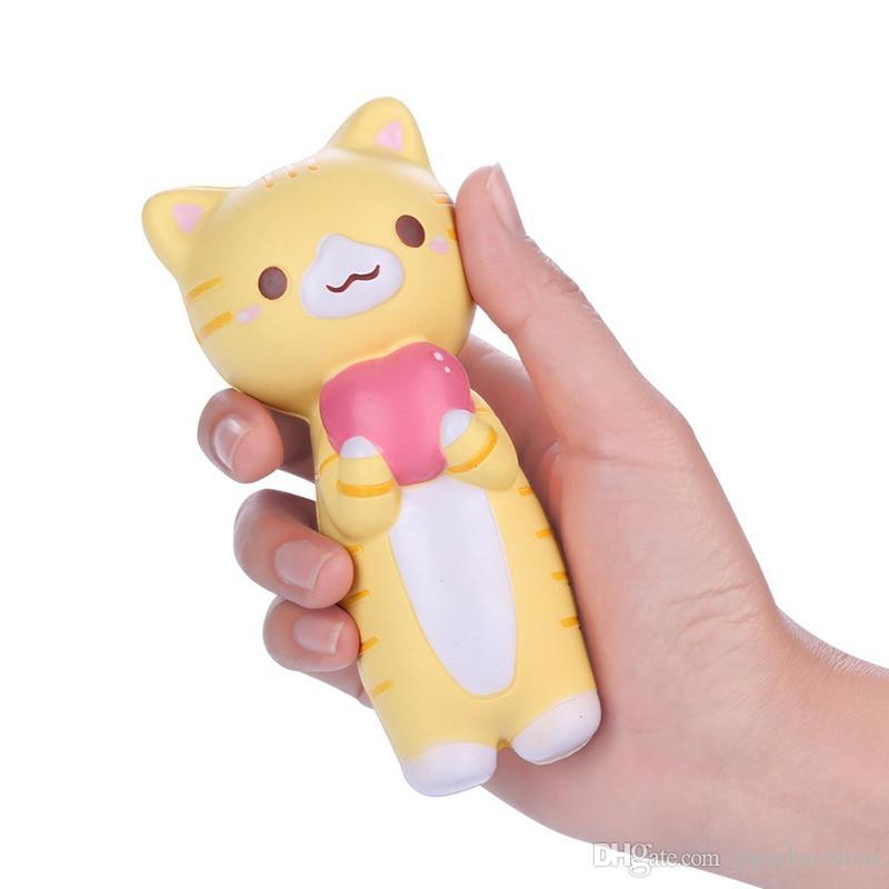 10psc17cm Heart Cat Squishy Jumbo Kitty Pussy Slow Rising Original Phone Straps Pendant Cream Scented Bread Cake Kids Fun Toy Gift