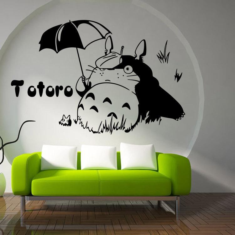 Cartoon Totoro With Umbrella Home Decoration Wall Decal Living Room Decors Adesivo De Parede Removable Vinyl Stickers Decals