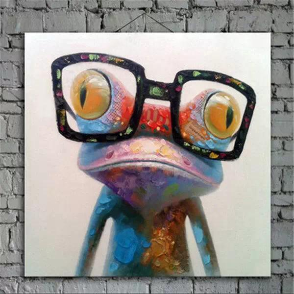 Wear Glasses Frog Hand painting Oil Painting On Canvas Large Abstract Cartoon Paintings Wall Decoration JL333