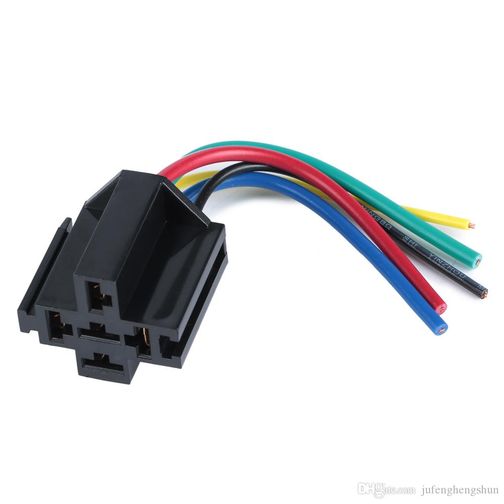 5/Car Relay Socket 12V 30A 40A 5 Pin 5 Wire Kit for Electric Fan Fuel Pump Light Horn Universal Relay Socket