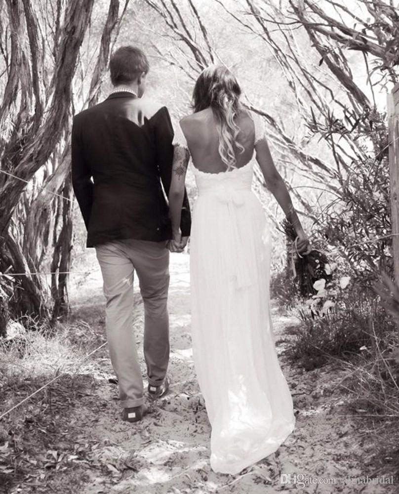 Vintage Hat Düğün Elbise Dantel Bohemian Scoop boyun Seksi Backless Boho Gelinlik 2016 Sweep Tren Cap Kollu Vestido De Noiva