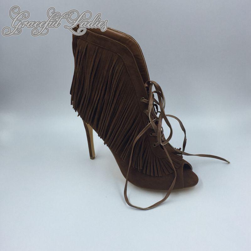 2016 Derin Kahverengi Bayan Sandalet Püskül Gerçek Görüntü Moda Bayan Yaz Stil Ayakkabı Zarif Artı Boyutu Yüksek Topuklu Ince Özel Yapılmış Sıcak Satış