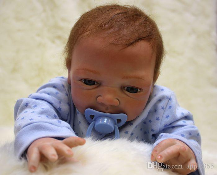 46cm/18inch Handmade Reborn Baby Doll Girl Newborn Life like Soft Vinyl silicone Soft Gentle Touch Cloth Body Magnetic pacifier