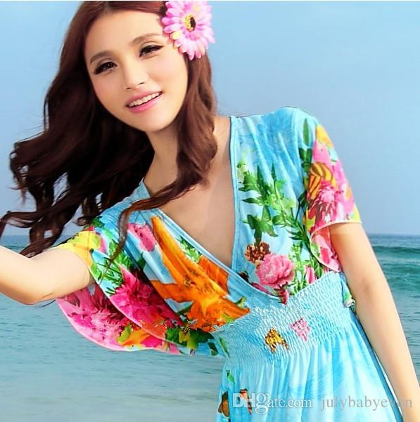 2016 Bohemia Dress Summer Resort Maxi Beach Dresses Sleeveless Floral Print Ethnic Robe Boho Long Vestido Womens Clothing 851