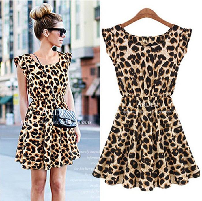 Hot! Women Casual Dress Leopard Print Microfiber Summer Dress ...
