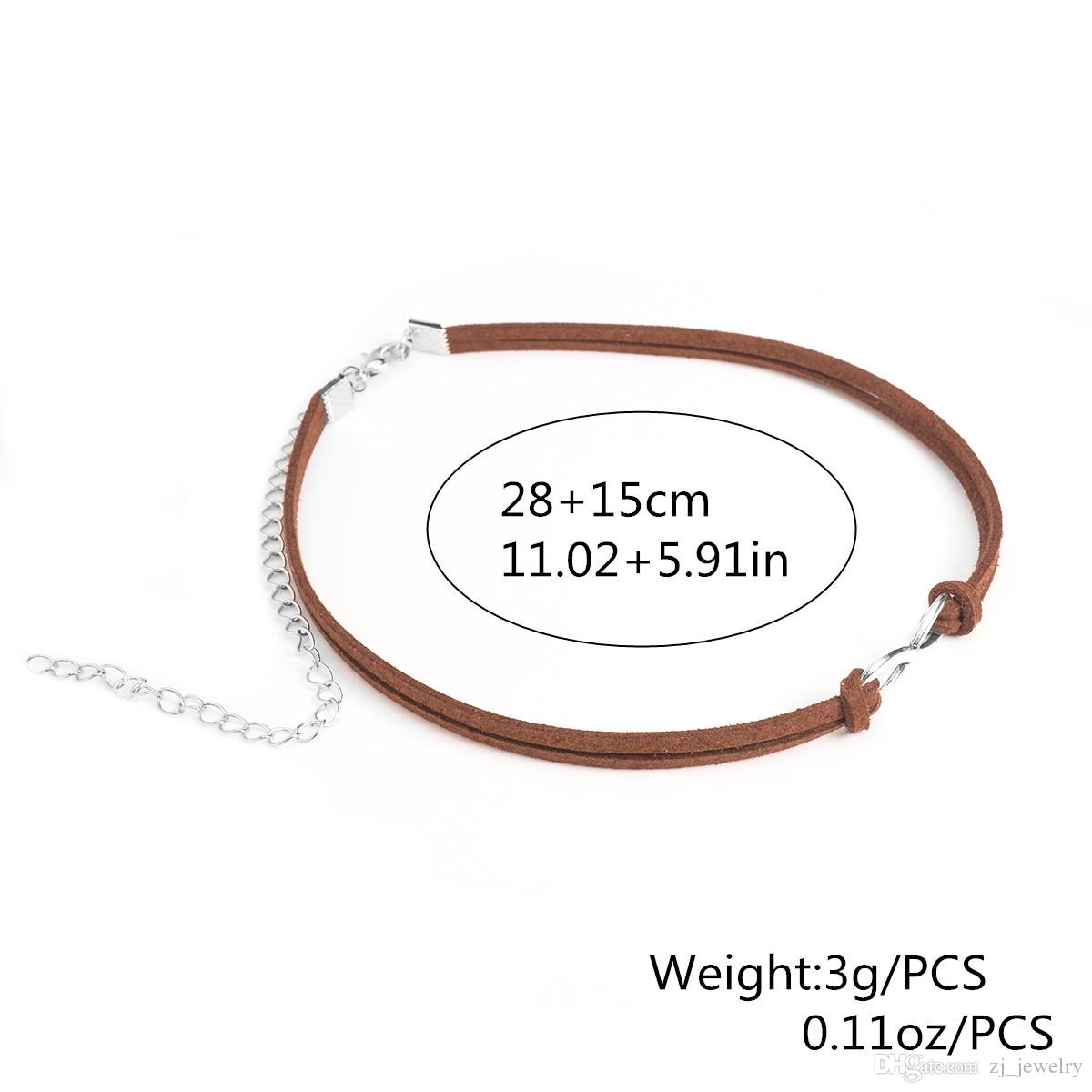 New Brand Punk Leather Chokers Necklace Women Short Black Brown White Velvet Infinity Choker Necklaces Christmas Gift 8