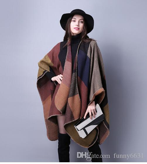autumn winter scarf grid woman travel shawls wool spinning ladies National intensification cloak cape christmas party cappa