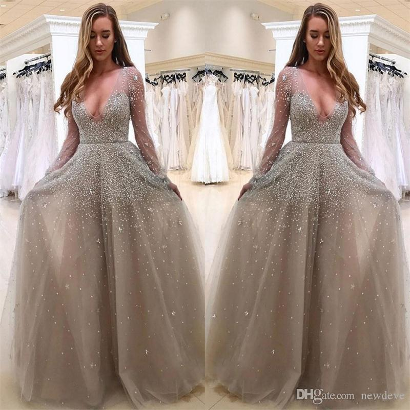1e953183b9 Sparkling Major Beading Sexy Sheer New Formal Dresses Long Sleeve Evening Gowns  Sequined Deep V Neck Prom Dress Formal Dresses Plus Size Dresses From ...