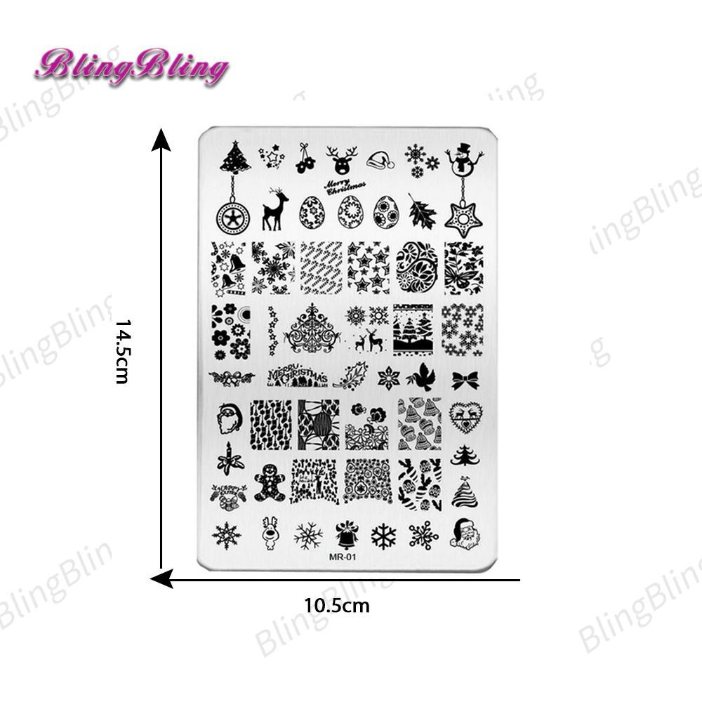 Wholesale Big Size Christmas Decoration Nail Stamping Plates Beauty