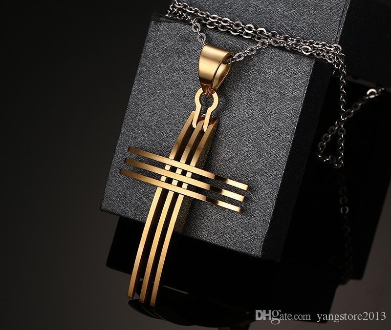 Mode Kreuz Halskette Anhänger 18 Karat vergoldet Edelstahl mit 20 Zoll Kette für Frauen Männer PN-127