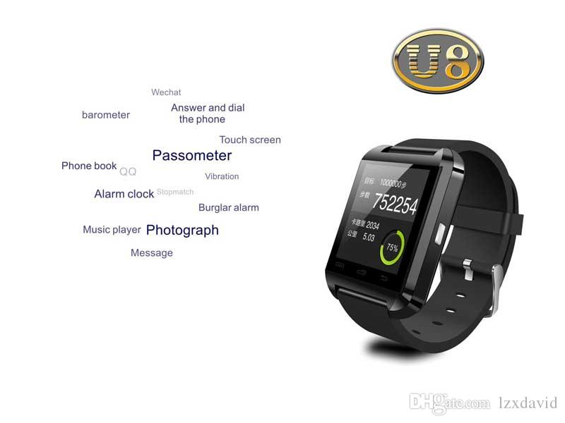 U8 Smart Watch Bluetooth Smartwatches Touch Screen Wirst Watches Without Altimeter For Android Smartphone IOS with Retail Package