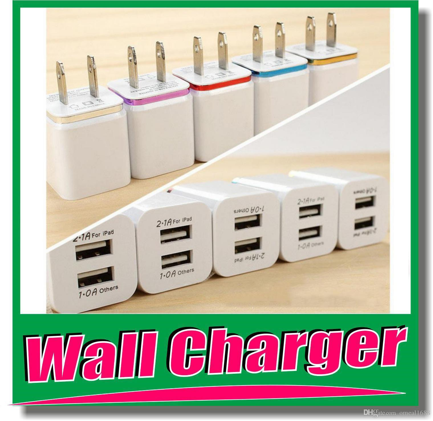 5V 2100mA Home Wall AC to 2-Port USB Charger Samsung Galaxy Note//Tab 2 3 White