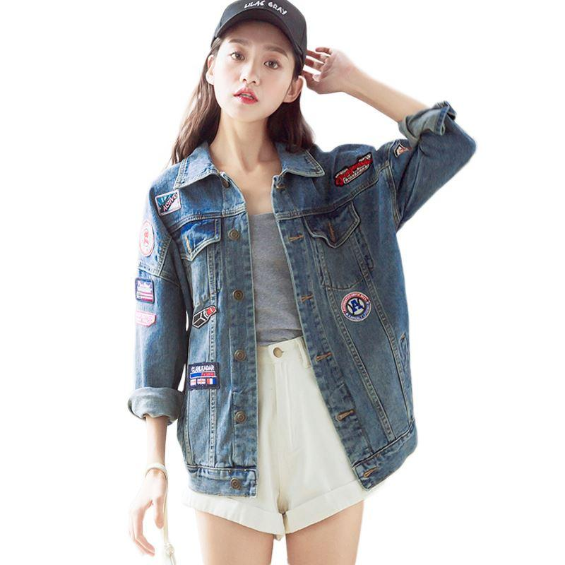 Autumn Loose Icons Female Jackets Women Patch Denim Jacket For Girls