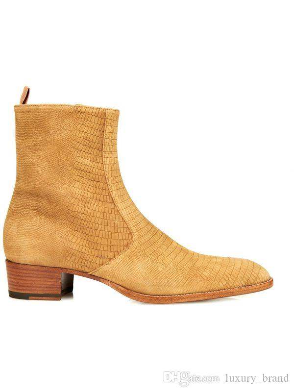 European Style Men Brand Boots Golden Pointed Toe Buckle Slip On Fashion Boots Embossed Leather Short Boots Men Euro Size 37-46