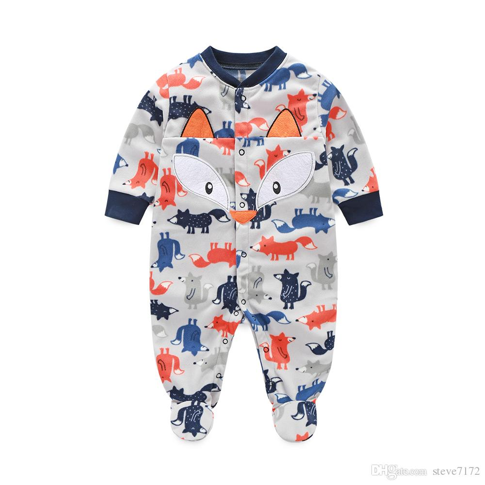 Grey Fox Baby Boys Clothes Rompers Pajamas Newborn Clothing Shirt Footcover Romper Infant Jumpsuits Wholesale