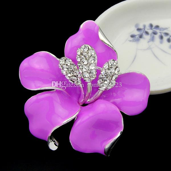 New Poppy Brooches Multicolor Pins Brooches Crystal Rhinestone Red Flowers Drip Brooch For Women Wedding Dress Low Price DHL