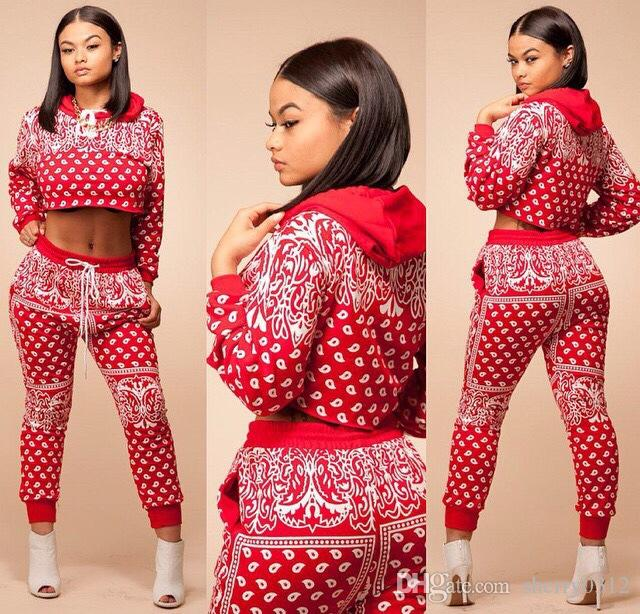 a53c38cb6bb 2019 2017 New Arrival Autumn Red Tracksuit Women Print Sport Suit With  Hoodies Sweatshirt + Pant Jogging Set Costume Sportswear Tracksuit From  Sherry0312