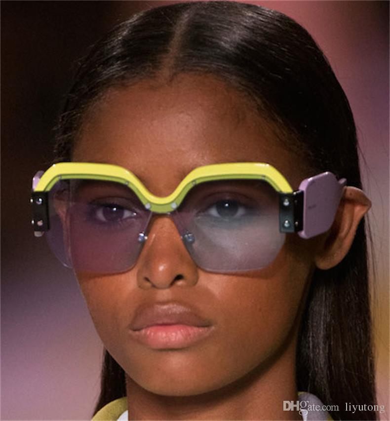 0ad3506e4e1 Fashion Big Frame Square Half Frame Sunglasses Women Rivet Transparent  Frame Retro Shades Sunglasses Men Fashion Designer Luxury Electric  Sunglasses ...
