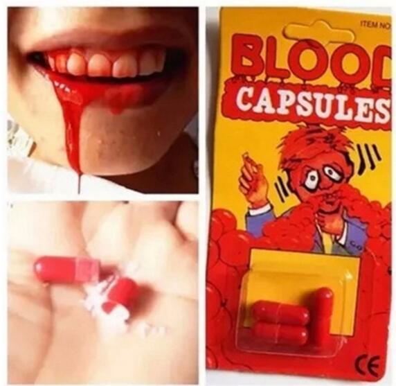Fashion New Candy Box Costume Fake Blood Pill Capsules Horror Fun Halloween Gag Joke Party Set New Free