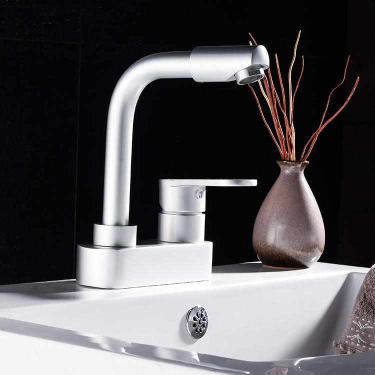 Aluminum faucet Silver high-grade faucet Hot and cold water faucet Lead free aluminum material kitchen faucet