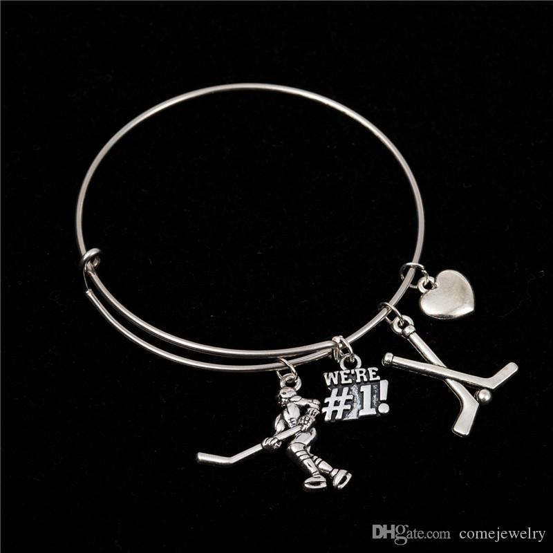 Myshape Cool Fashion Stainless Steel DIY Charms Bracelet Diameter 70mm Sportsman Jewelry Hockey Ice Ball Pendant Bangle Wristbands
