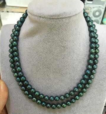 7b8495cec86 2019 AAA Double Strands 9 10mm Tahitian Green Pearl Necklace 18 Inch 19  Inch 14k Gold Clasp From Dongri998