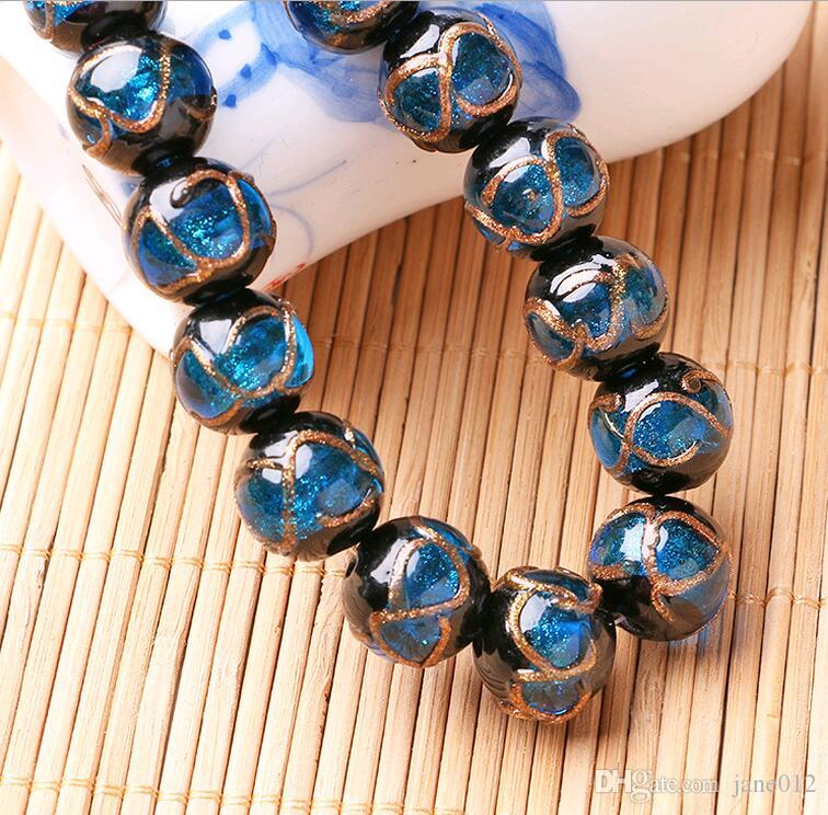 Handmade 14mm 16mm Round Stone Beads for Bracelet Necklace Gold Sand Patterns Vintage Lampwork glass Beads China for Sale