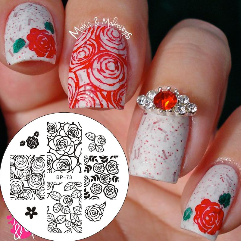 Wholesale Rose Flower Nail Stamping Plates Stamp Nail Art Template ...