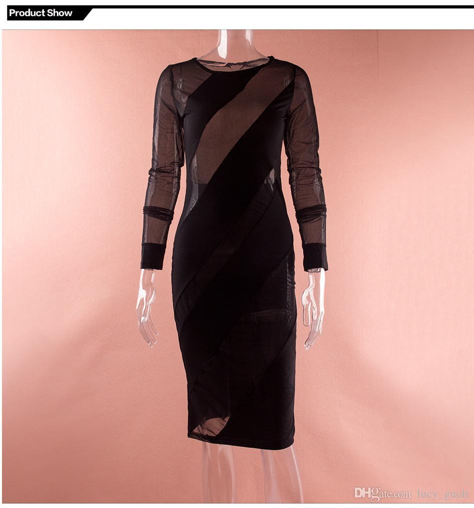 Hot Clubwear Party Night Club Dress Mesh Long Sleeve Black Lace Dress Bodycon Bandage Womens Sexy Dresses Summer Midi Dress 2016 sheer dress