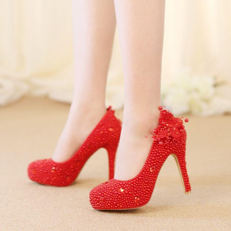 92c073ad5 Sapatos Lindos Sapatos De Casamento Handmade Red Pearl High Heels Rendas  Borboleta Mulheres Bombas De Noiva Sapatos De Salto Alto Novo Design Adulto  ...