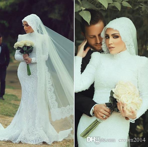New Mermaid High Neck Long Sleeve Muslim Wedding Dress 2016 With ...