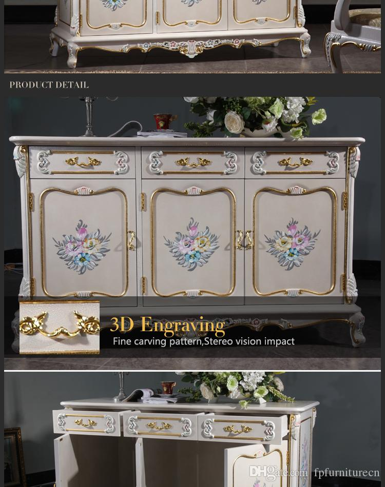 French antique furniture - baroque handcraft cracking paint floor cabinet - TV cabinet